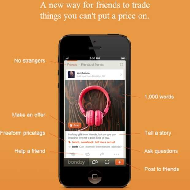 Bondsy: een nieuwe app waarmee je dingen ruilt met je vrienden waar je geen prijs op kan plakken