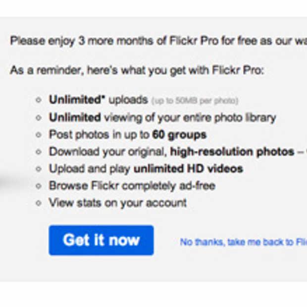 Flickr PRO voor 3 maanden gratis