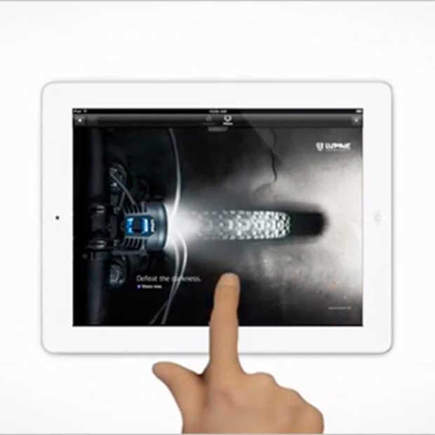 Interactieve iPad reclame voor Lupine verlicht een heel magazine
