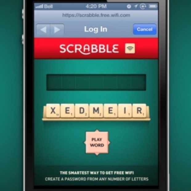 Scrabble Wifi: spel een woord correct en win je score in gratis Wifi-minuten