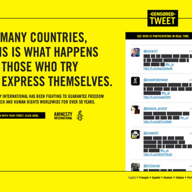 Steun Amnesty International met een gecensureerde Tweet