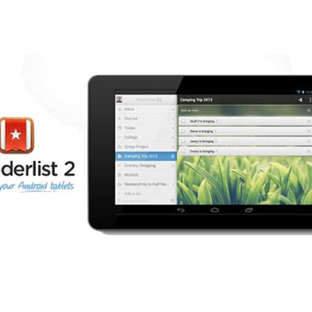 Wunderlist 2.0, nu ook beschikbaar voor Android Tablets