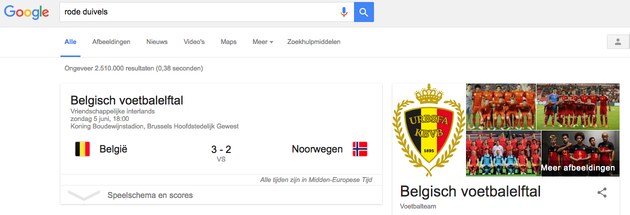 voetbalinfo via Google