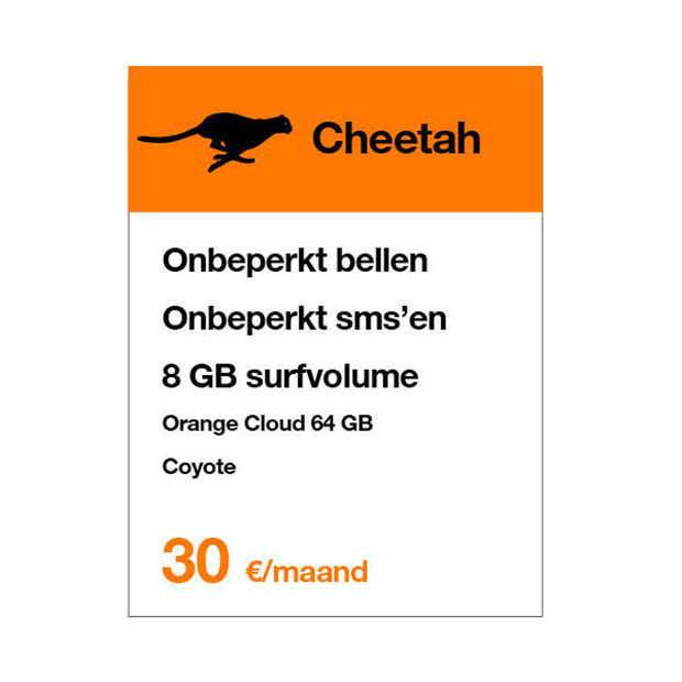 Orange Cheetah: 8GB mobiele data en onbeperkt bellen voor 30 euro