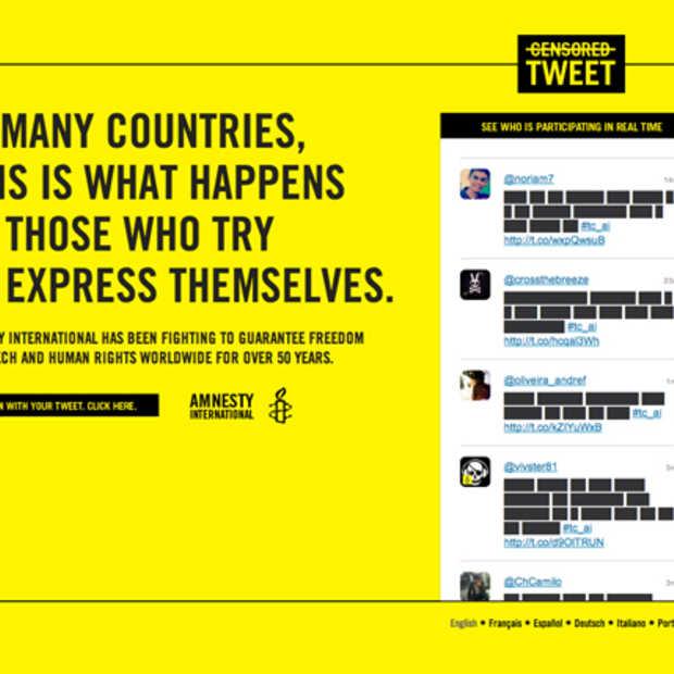Steun Amnesty International met een gecensureerde Tweet