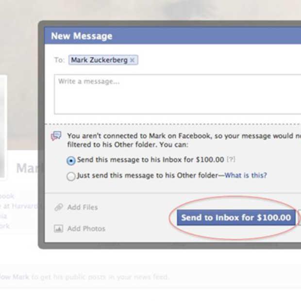 Stuur een mailtje naar Mark Zuckerberg voor 100 USD